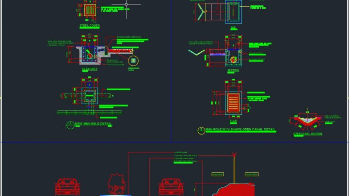Manhole and Details Autocad Drawing