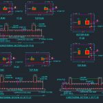 RCC Combined Footing Details Autocad Drawing