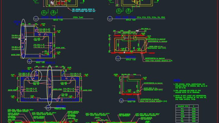RCC Water Storage Tank and Pump Room Details Autocad Drawing