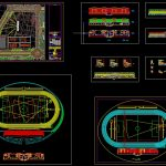 Stadium Layout and Elevation Plan Autocad Drawing