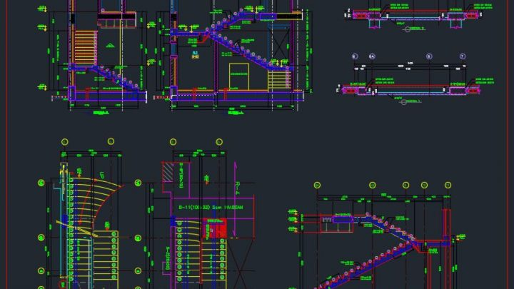 Stair Reinforcement Details Autocad Drawing