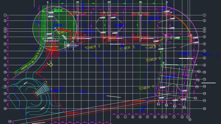 Tower Crane Layout Plan Autocad Drawing
