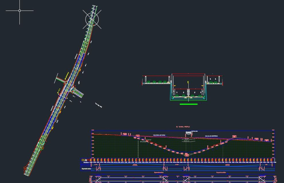 Tunnel Layout Plan – Elevation and Cross Section Autocad Details