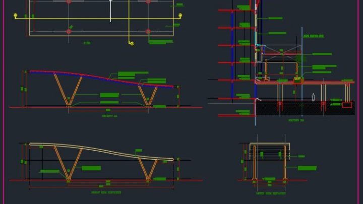 Canopy Elevation and Cross Section Details Autocad Drawing