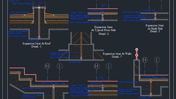Expansion Joints Details Autocad Drawing