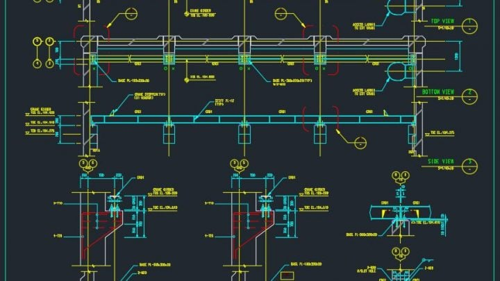 Overhead Steel Crane Support Details Autocad Drawing
