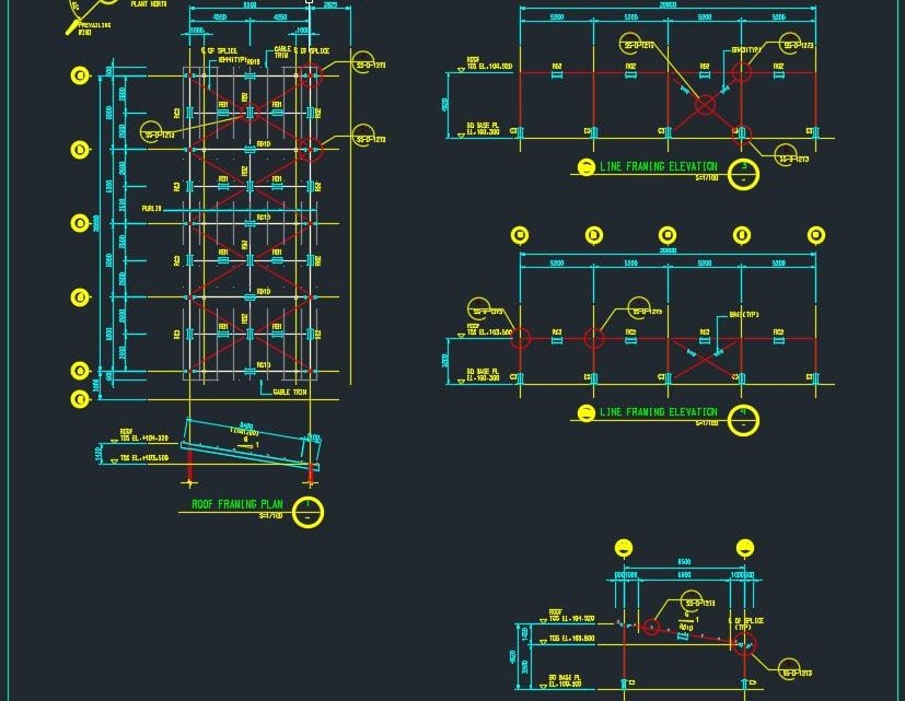 Steel Roof Framing Plan and Elevation Autocad File