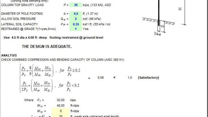 Cantiliver Column and Footing Design Spreadsheet