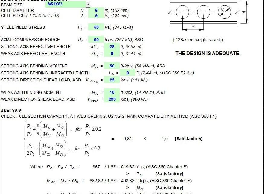 Cellular Beam Design Spreadsheet