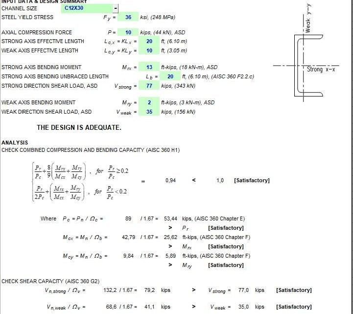 Channel Steel Member Capacity Spreadsheet