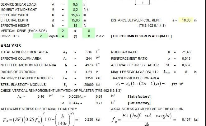 Masonry Column Design Spreadsheet