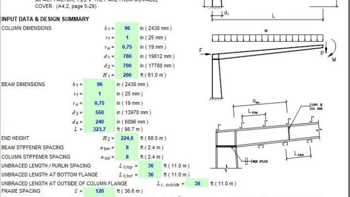 Web-Tapered Cantiliver Frame Design Spreadsheet