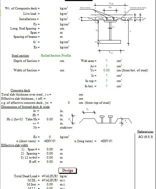 Design Of Composite Beams Deck Ribs Oriented Parallel To Steel Beam Spreadsheet