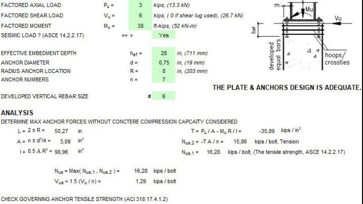 Anchorage Design with Circular Base Plate Spreadsheet