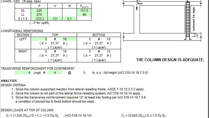 Basement Column Supporting Lateral Resisting Frame Spreadsheet