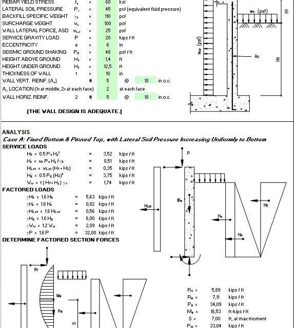Basement Concrete Wall Design Spreadsheet