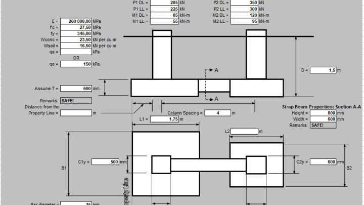 Design Of Combined Strap Footing Spreadsheet