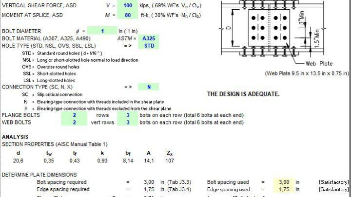 Beam Bolted Splice Design Spreadsheet