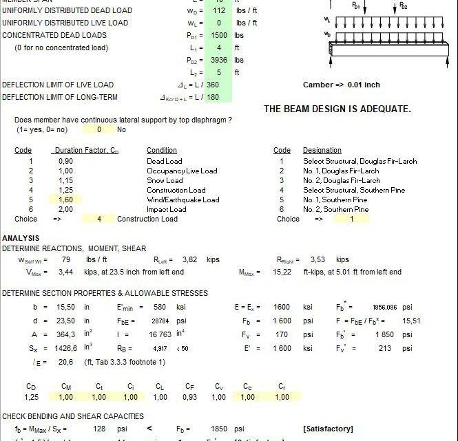 Wood Beam Design Spreadsheet