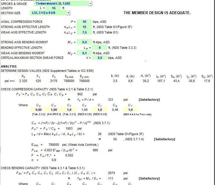 Wood Member Design Spreadsheet