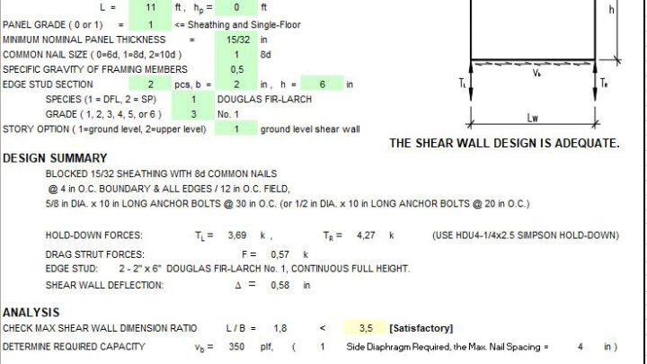 Wood Shear Wall Design Spreadsheet