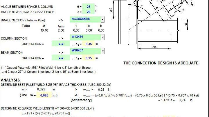 Corner Bracing Connection Capacity Spreadsheet