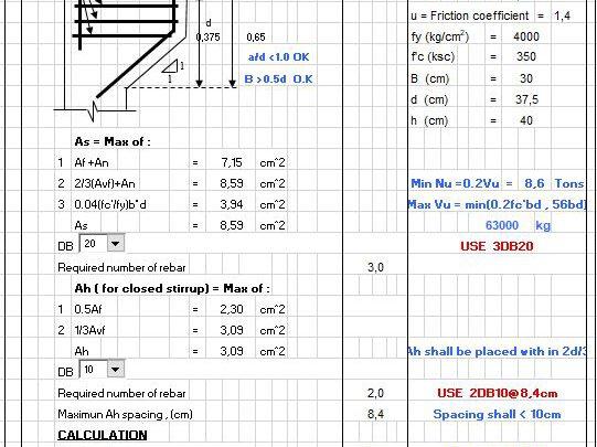 RC Beam Corbel Design ACI Code Spreadsheet
