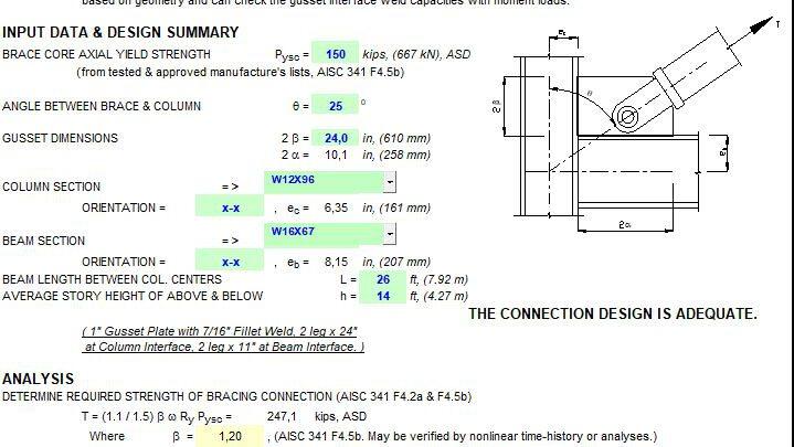 Seismic Design For Buckling-Restrained Braced Frames Spreadsheet