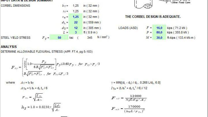 Steel Corbel Design Spreadsheet