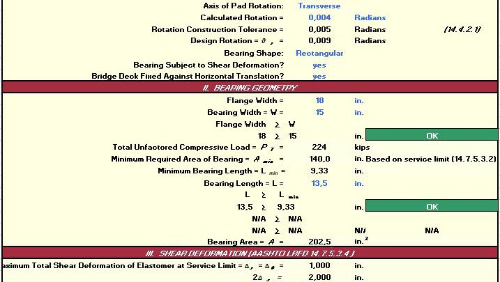 Steel Reinforced Elastometric Bearings Design Spreadsheet
