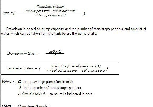 Pressure Tank Calculation Spreadsheet
