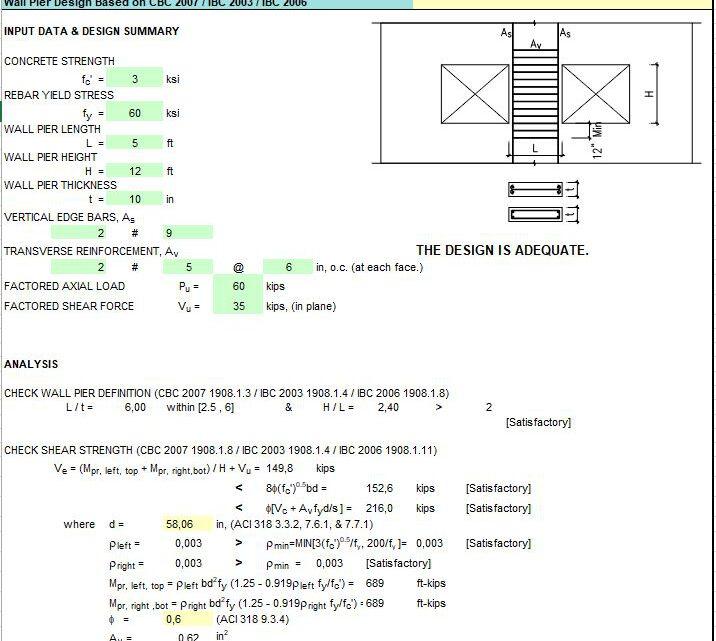 Wall Pier Design Spreadsheet