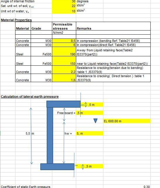 Analysis And Design Of Tank Walls Spreadsheet