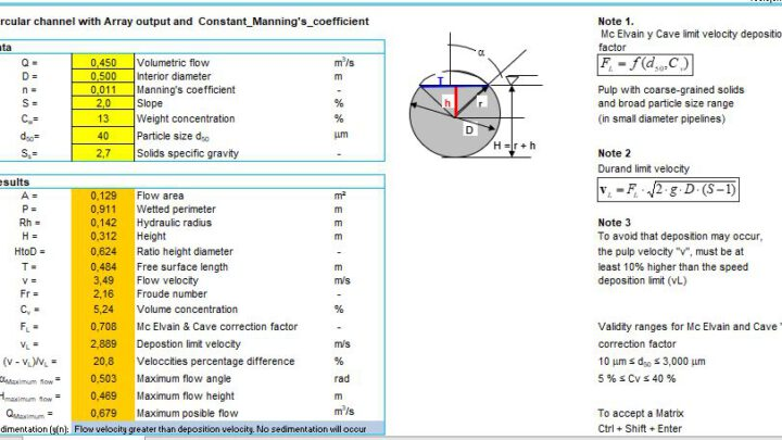 Circular Channel With Array Output And Constant Manning's Coefficient Spreadsheet