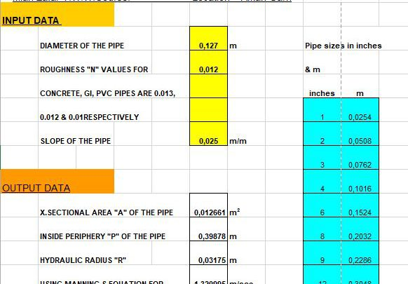 Design Of Pipe Under Gravity From a Source Spreadsheet