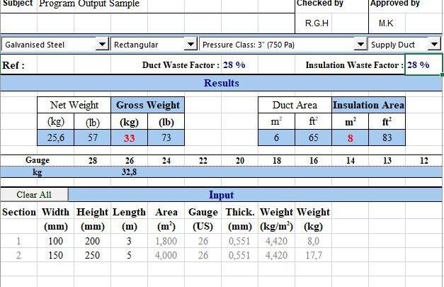 Duct Weight Calculator Spreadsheet