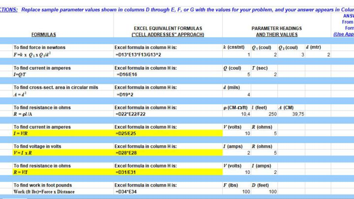 Electrical Engineering Formulas Spreadsheet
