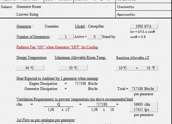 Generator Room Ventilation Spreadsheet