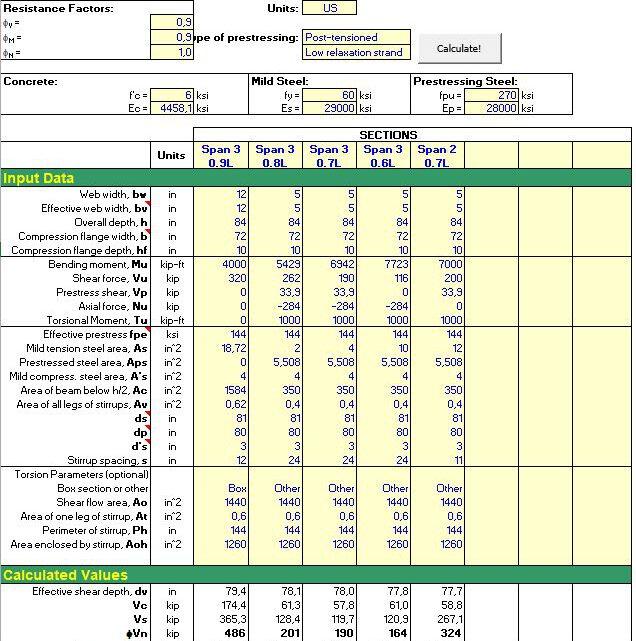 LRFD Shear Torsion Design Spreadsheet