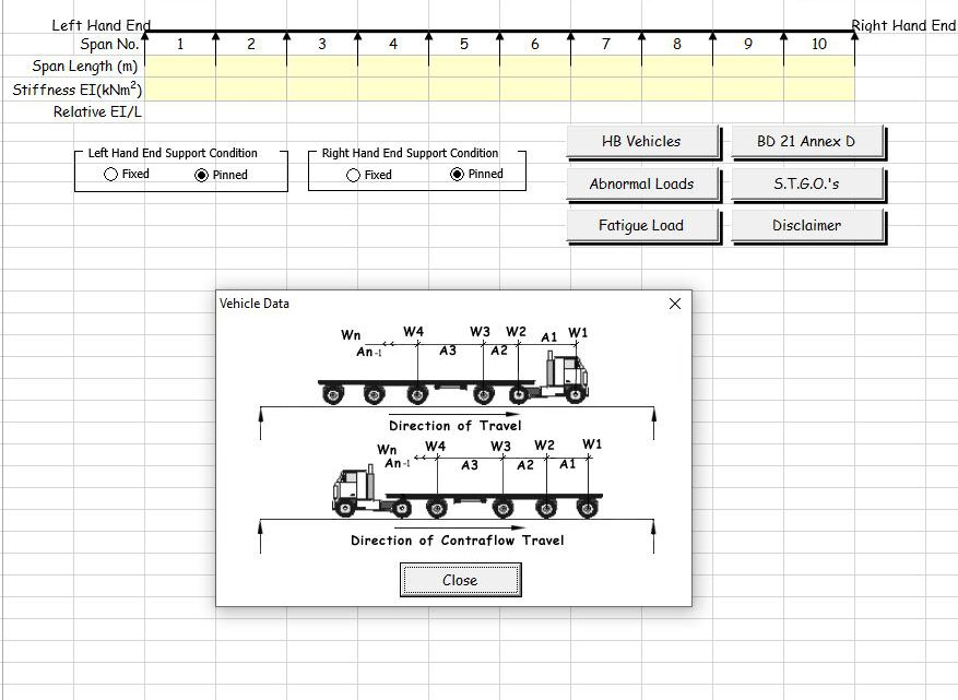 Line Beam Analysis for Moving Vehicle Loads to BS 5400, BD 21 and BD 86 Spreadsheet
