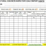 Structural Concrete Inspector's Daily Report Spreadsheet Template