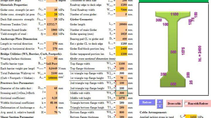 Prestress Concrete Girder Design by AASHTO LRFD 98 Spreadsheet