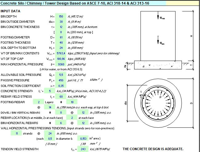 Concrete Silo-Chimney-Tower Design Spreadsheet