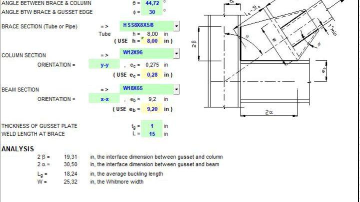 Corner Gusset Plate Dimensions Generator Spreadsheet