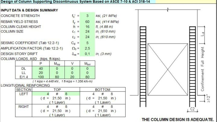 Design Of Column Supporting Discontinuous System Spreadsheet