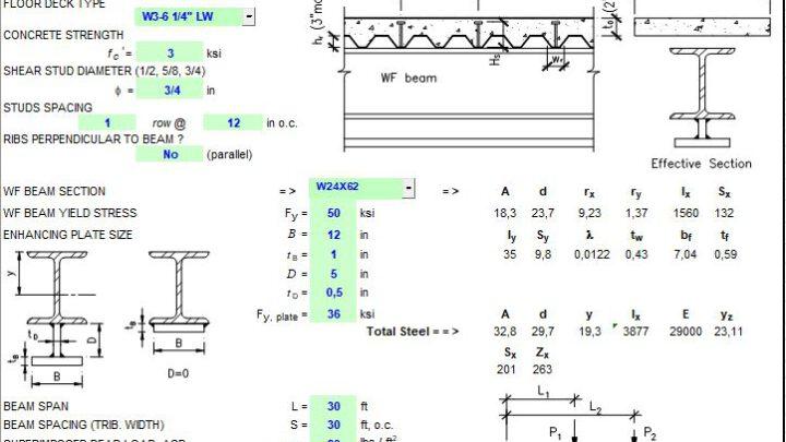 Enhanced Composite Beam Design Spreadsheet