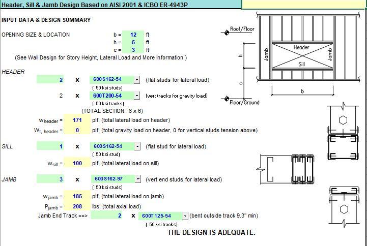 Header Still and Jamb Design Spreadsheet