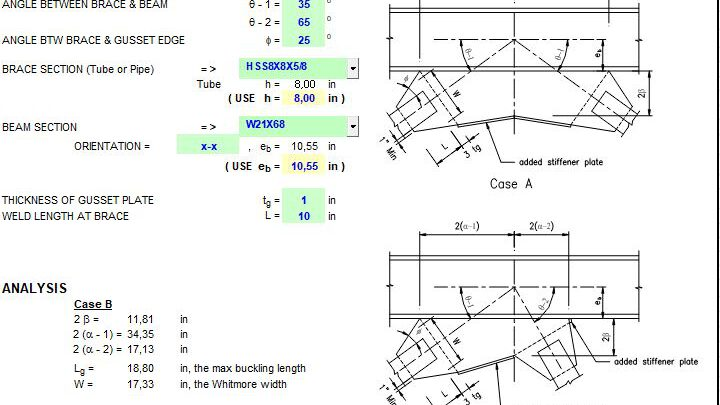 Middle Of Beam Gusset Plate Dimensions Generator Spreadsheet