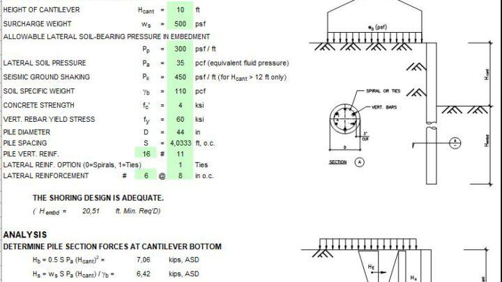 Sheet Pile Wall Design Spreadsheet