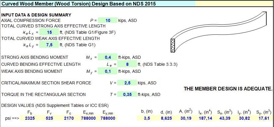 Curved Wood Member Design Spreadsheet